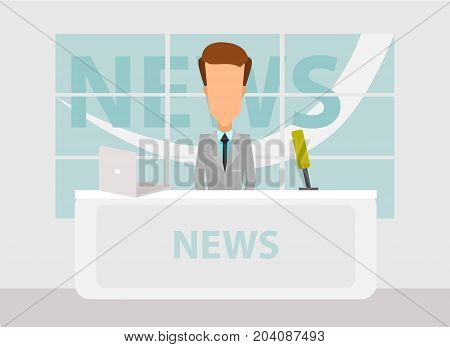 News Anchorman in Breaking NEWS and TV Screen Layout. TV Breaking News background. Vector illustration in flat design.