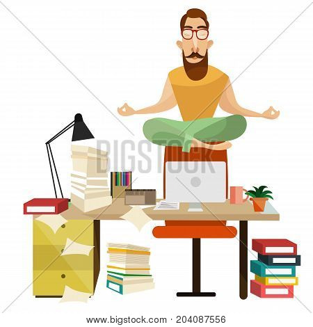 Vector illustration of office worker male sitting on chair back in lotus position and relaxing. Office meditation concept design element.