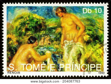 Moscow Russia - September 13 2017: A stamp printed in Sao Tome and Principe shows painting