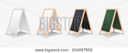 Realistic special menu announcement board icon set isolated on transparent background. Clean restaurant outdoor blackboard background. Mockup of chalkboard for restaurant menu. Side view. Stock vector. EPS10 illustration.