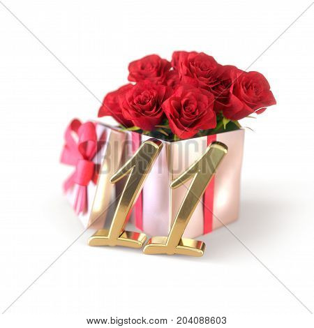 birthday concept with red roses in gift isolated on white background. 3D render - eleventh birthday. 11th