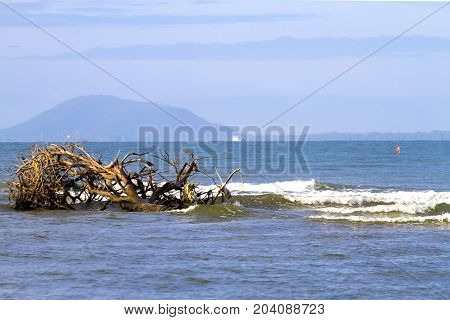 The Beach Ban Krut natural amd wave in Prachuap Khirikhun Province Thailand is famous for travel