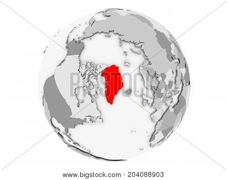 Greenland On Grey Globe Isolated