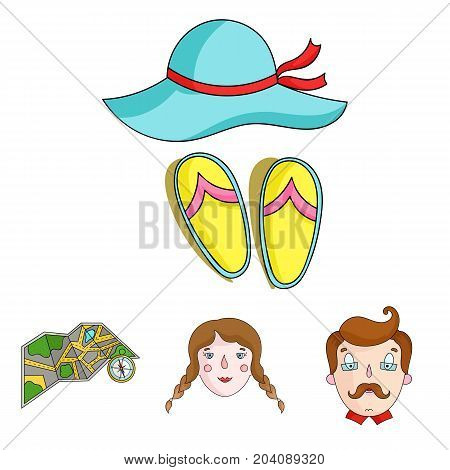 Travel, vacation, camping, map .Family holiday set collection icons in cartoon style vector symbol stock illustration .