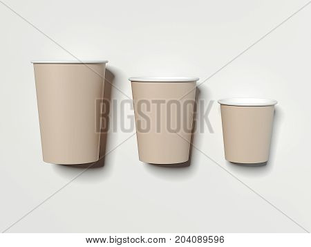 Three brown paper cups on bright background. 3d rendering