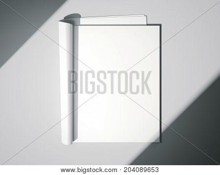 White blank magazine on a bright floor. 3d rendering