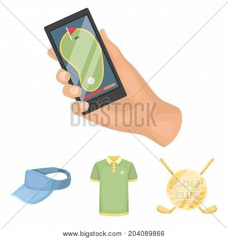 Emblem of the golf club, cap with a visor, golfer shirt, phone with a navigator.Golf club set collection icons in cartoon style vector symbol stock illustration .