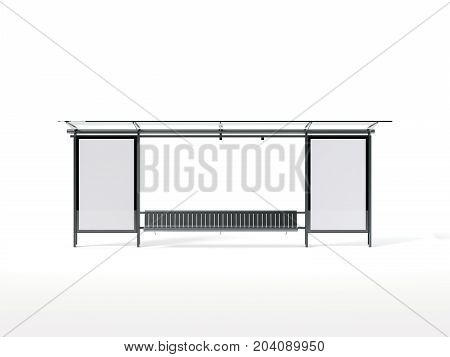 Bus stop with two blank vertical banners. 3d rendering