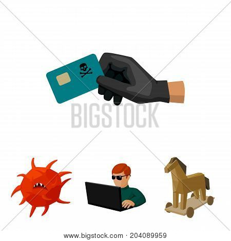 Hacker, hacking, system, internet .Hackers and hacking set collection icons in cartoon style vector symbol stock illustration .