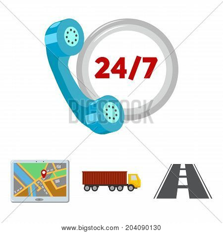 Round the clock, road, truck, JPS.Logistic, set collection icons in cartoon style vector symbol stock illustration .