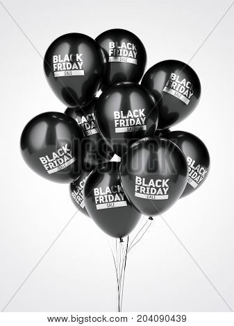 A few black balloons with black friday sale sign. 3d rendering