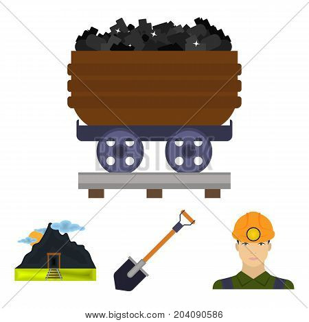 A shovel, a miner, an entrance to a mine, a trolley with coal.Mine set collection icons in cartoon style vector symbol stock illustration .