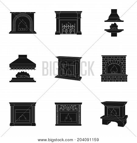 Fire, warmth and comfort. Fireplace set collection icons in black style vector symbol stock illustration .