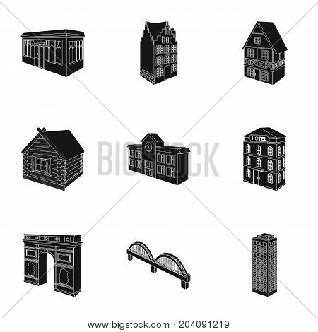 Municipality building, bank office building, stable, wooden hut, bridge and other architectural structures. Architecture and facilities set collection icons in black style vector symbol stock illustration .