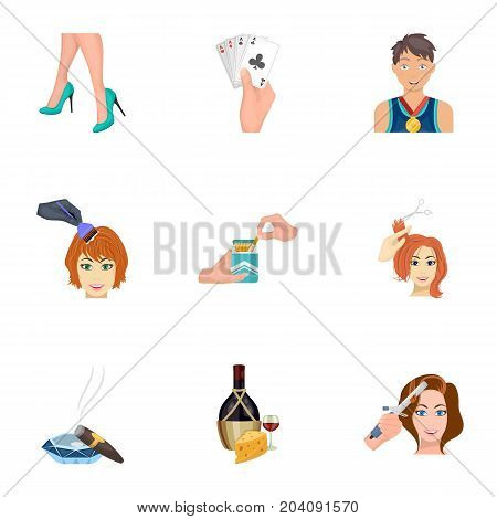Darts, mirror with reflection, cigar in an ashtray, a bottle of champagne and other  icon in cartoon style. Combination of cards in hand, a bottle of wine and a glass, hair cutting, heeled shoes icons in set collection.