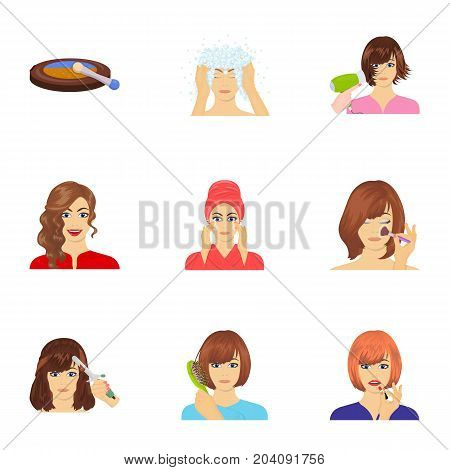 Means, hygiene, cosmetology and other  icon in cartoon style.Hairdresser, cosmetic, salon icons in set collection.