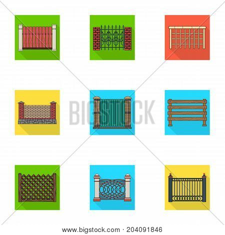 A fence of metal and bricks, wooden palisade and other varieties. A different fence set collection icons in flat style vector symbol stock illustration .