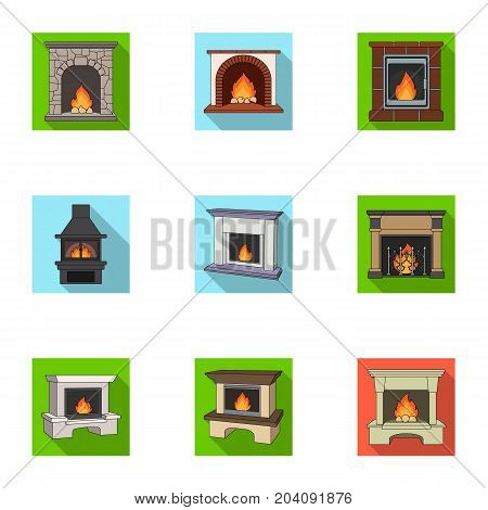 Fire, warmth and comfort. Fireplace set collection icons in flat style vector symbol stock illustration .