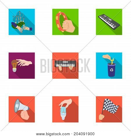 Musical instrument, garbage and ecology, electric appliance and other  icon in flat style. Megaphone, finishing checkered flag, gesture and manipulation with hands icons in set collection.