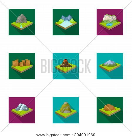 Mountains, rocks, lighthouse, volcano and other land reliefs. Mountains and landscapes set collection icons in flat style isometric vector symbol stock illustration .