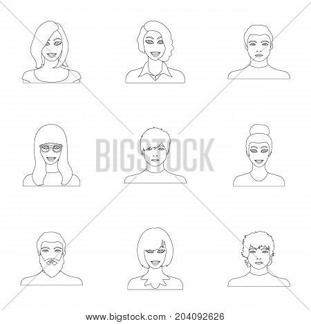 Appearance of the girl in glasses, a guy with a hairdo, a bald man with a beard and other varieties of face. Faces and appearance set collection icons in outline style vector symbol stock illustration .