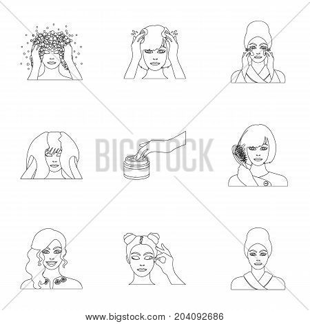 Means, hygiene, cosmetology and other  icon in outline style.Hairdresser, cosmetic, salon icons in set collection.