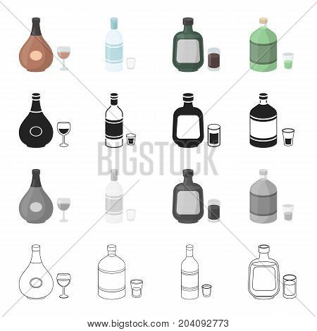 Chocolate liqueur, absinthe, alcohol, vodka, herbaceous liquor. Alcohol set collection icons in cartoon black monochrome outline style vector symbol stock illustration .