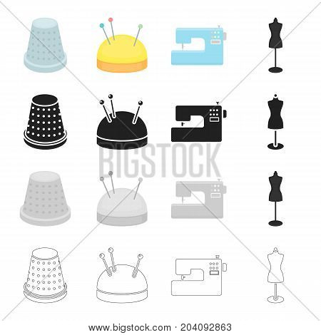 Electric sewing machine, sewing thimble, pincushion, equipment mannequin. Sewing and equipment set collection icons in cartoon black monochrome outline style vector symbol stock illustration .