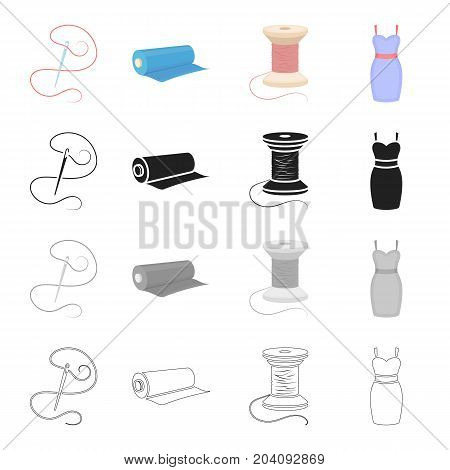 Needle with thread, sewing thread reel, fabric roll, dress. Sewing and equipment set collection icons in cartoon black monochrome outline style vector symbol stock illustration .