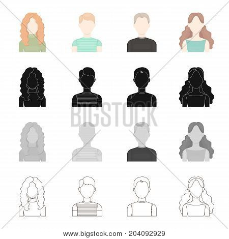 Appearance of a red-haired girl, a boy's face, a young man, a girl with long hair. Face and appearance set collection icons in cartoon black monochrome outline style vector symbol stock illustration .