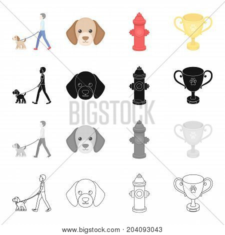 Walk with a puppy, a puppy's muzzle, a hydrant, a cup.Puppy set collection icons in cartoon black monochrome outline style vector symbol stock illustration .