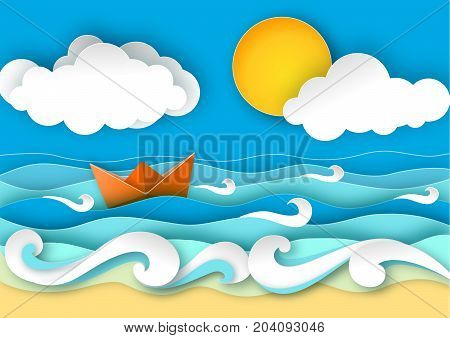 Origami sailing boat made from paper. Sea waves and tropical beach in paper art style. Travel concept vector illustration. Summer vacation poster in paper cut design.