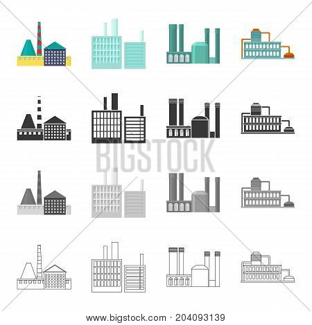 Processing plant, industrial production facilities. Plant and factory set collection icons in cartoon black monochrome outline style vector symbol stock illustration .