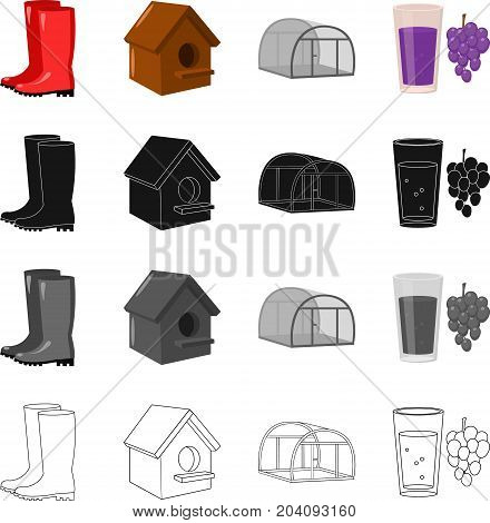 Rubber boots, a wooden birdhouse, nesting box, a greenhouse on a farm, a glass of juice and a bunch of grapes. Farm set collection icons in cartoon black monochrome outline style vector symbol stock illustration .