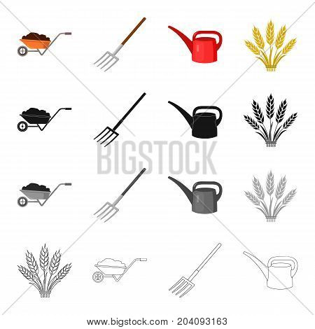 Wheelbarrow with a load, farm forks, plastic watering can, wheat spikes. Farm set collection icons in cartoon black monochrome outline style vector symbol stock illustration .