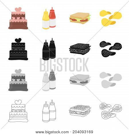 Cake, ketchup and mustard, fast food sandwich, potato chips. Fast food set collection icons in cartoon black monochrome outline style vector symbol stock illustration .