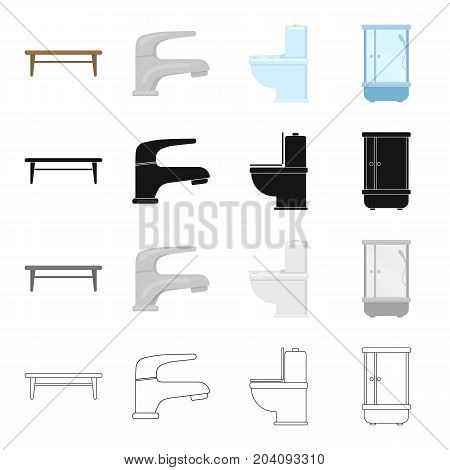 Stylish furniture, coffee table, furnishings in the bathroom, shower, toilet, faucet. Furniture and furnishings set collection icons in cartoon black monochrome outline style vector symbol stock illustration .