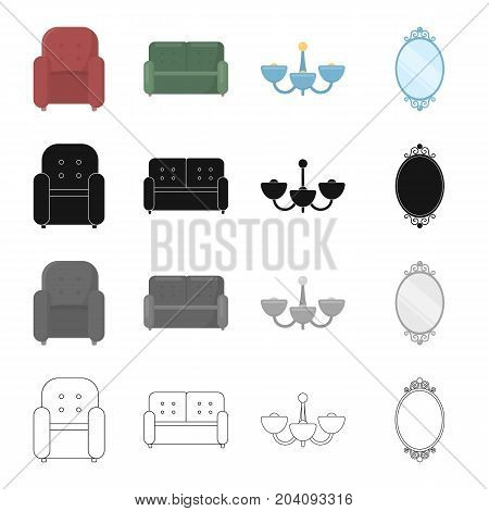 Soft armchair, sofa furniture, part of the furnishings, chandelier on the ceiling, a wall mirror. Furniture and furnishings set collection icons in cartoon black monochrome outline style vector symbol stock illustration .