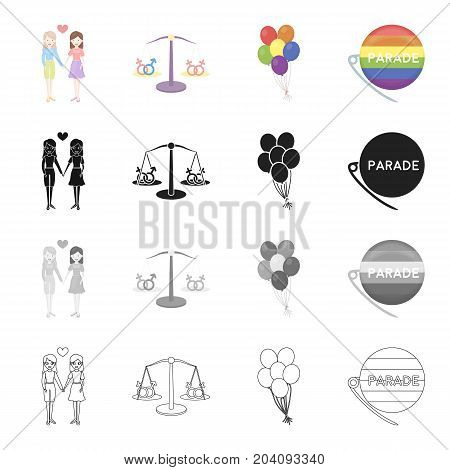 A couple of lesbians, the balance of equality of sexual minorities, balloons, the gay parade badge. The sexual minority set collection icons in cartoon black monochrome outline style vector symbol stock illustration .