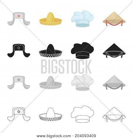 Sombrero, the cap of a cook, a Chinese cone, a fur hat.Hats set collection icons in cartoon black monochrome outline style vector symbol stock illustration .
