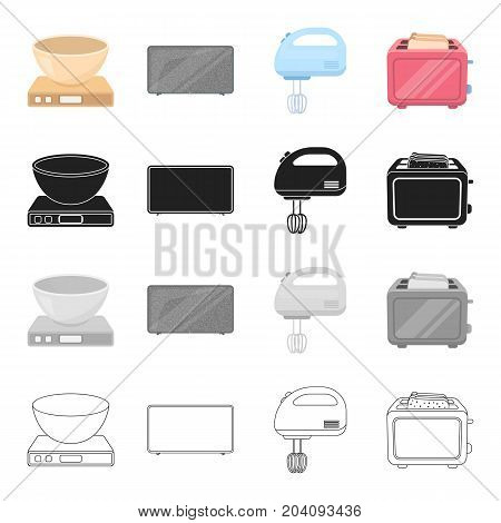 A bowl on the scales, a plasma TV, a household mixer, a toaster. Household appliance set collection icons in cartoon black monochrome outline style vector symbol stock illustration .