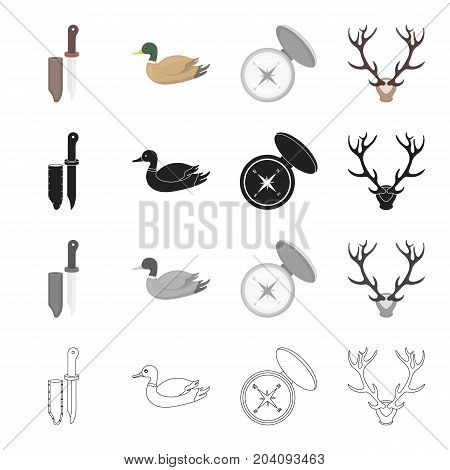 Hunting knife, manocle duck, compass, deer horns. Hunting set collection icons in cartoon black monochrome outline style vector symbol stock illustration .