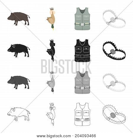 Wild boar, duck game, hunter's vest, trap on the beast. Hunting set collection icons in cartoon black monochrome outline style vector symbol stock illustration .