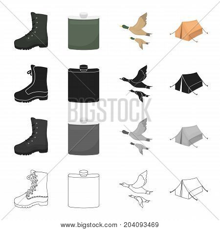 Boots, a hunting flask, a flight of ducks, a tent for rest. Hunting set collection icons in cartoon black monochrome outline style vector symbol stock illustration .