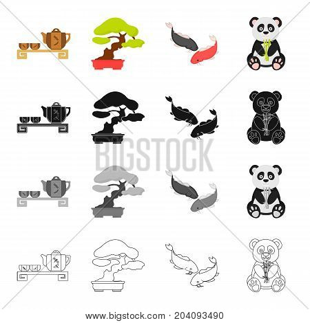 Tea ceremony, bonsai tree, Japanese sacred carp, koi, panda bamboo bear. Japan set collection icons in cartoon black monochrome outline style vector symbol stock illustration .