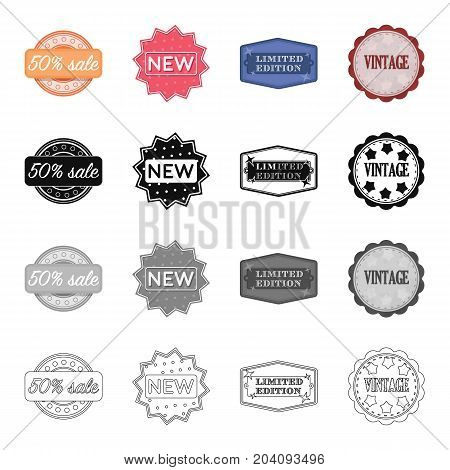Different types of labels, novelty, vintage, limited edition. Label set collection icons in cartoon black monochrome outline style vector symbol stock illustration .