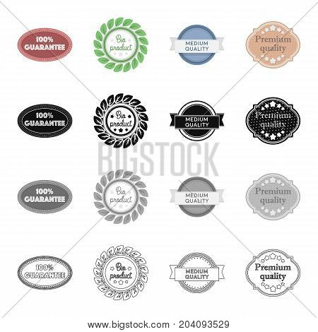 Different types of labels, bio product, medium and premium quality. Label set collection icons in cartoon black monochrome outline style vector symbol stock illustration .