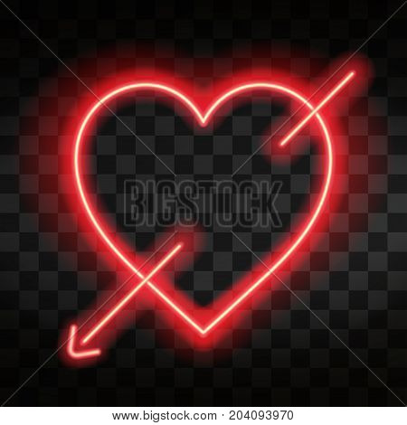 Bright Neon Heart. Heart Sign With Cupid Arrow On Dark Transparent Background. Neon Glow Effect