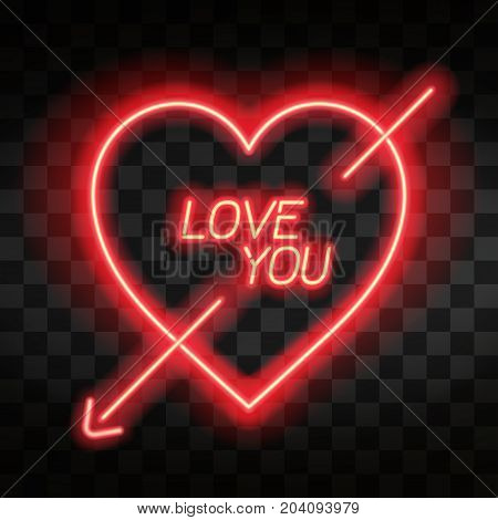 Love You. Bright Neon Heart. Heart Sign With Cupid Arrow On Dark Transparent Background. Neon Glow E