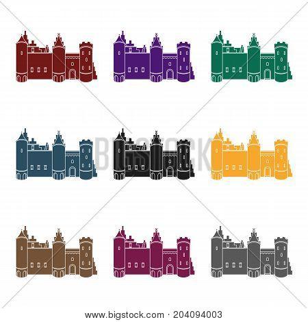 Protective Castle of belgium.The dark Belgian wolf. Belgium single icon in black style vector symbol stock  illustration.
